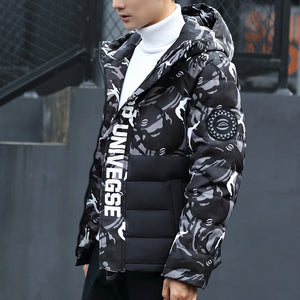 Duck Down Jacket Men- Thicken Camouflage Varsity Jacket - Windbreak Parka