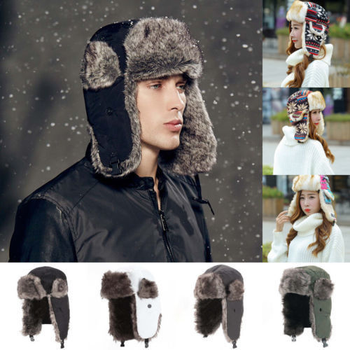 Faux Fur Snow baording Aviator Cap w/Fur Ear Flaps