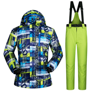 Mens 2-Piece Windproof Waterproof Thermal Ski Suit