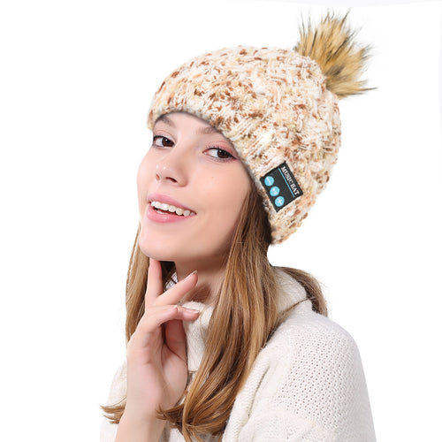 Women's Wireless Bluetooth Beanie- Knitted Winter Music Hat with Built in Speakers