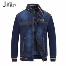 Load image into Gallery viewer, Mens Stand Collar Embroidered Denim Zipper Jacket