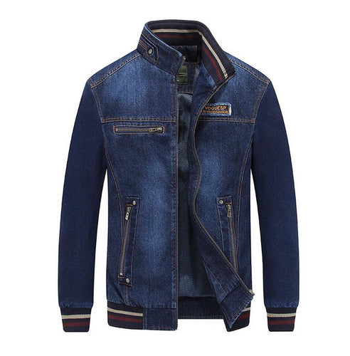 Mens Stand Collar Embroidered Denim Zipper Jacket