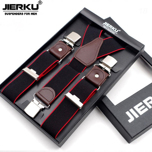 JIERKO Genuine Leather Assorted Color 3 Clip Suspenders*