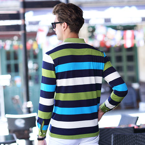 JUNGLE ZONE MENS LONG SLEEVE STRIPED SMALL LAPEL POLO