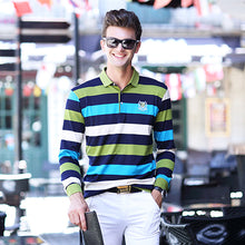 Load image into Gallery viewer, JUNGLE ZONE MENS LONG SLEEVE STRIPED SMALL LAPEL POLO