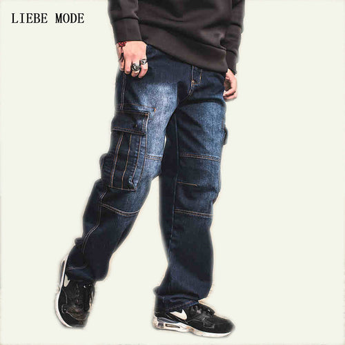 Japanese Style Straight Denim Loose Fit Cargo Jeans
