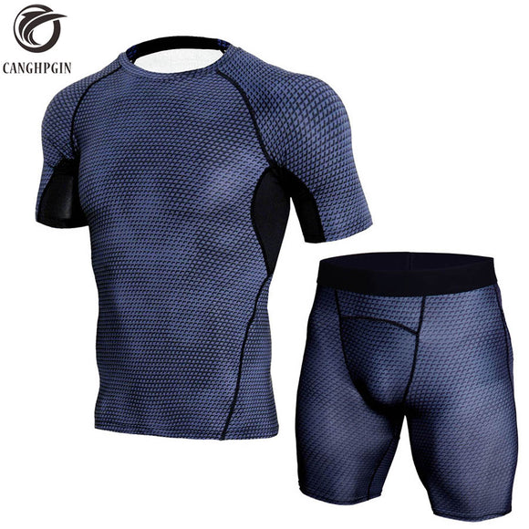 Mens 2-Piece Short Sleeve Fitness Compression Workout Suit