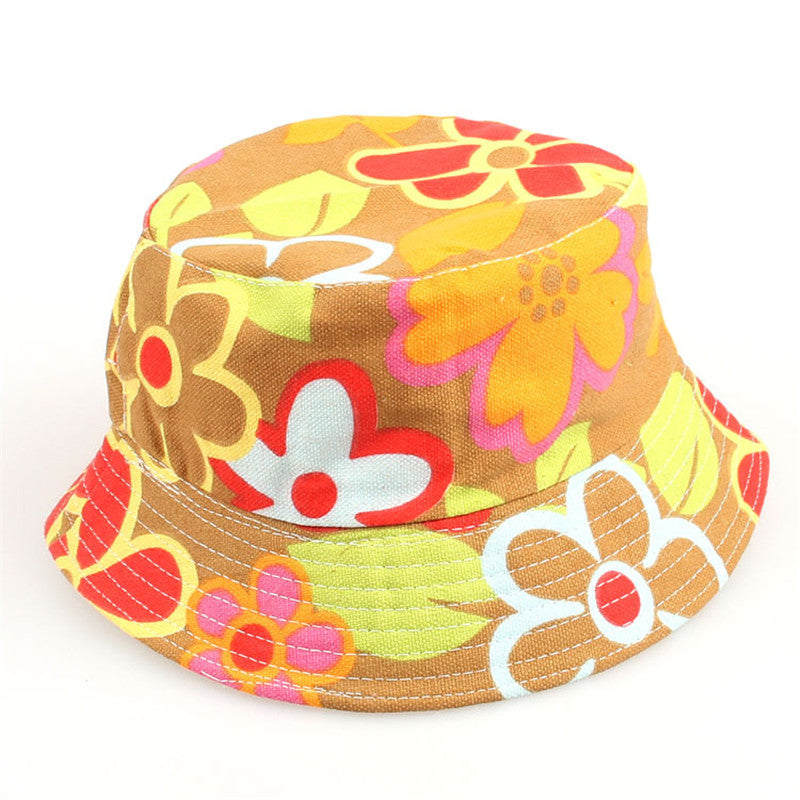 Kids Floral Pattern Canvas Bucket Hats
