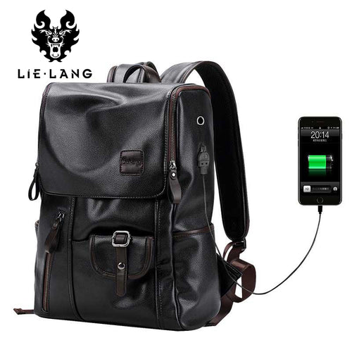 LIELANG Leather USB Charging Anti-Theft Travel Backpack*