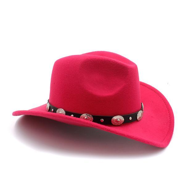 LUCKYLIANJI 100% Wool Solid Color Cowboy Hat w  Leather   Metal Band ... 945e77bc3b4f