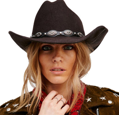 LUCKYLIANJI 100% Wool Solid Color Cowboy Hat w/ Leather & Metal Band* (57cm/US 7 1/8)