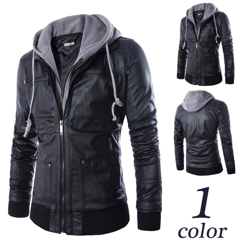 Leather Jacket for Men Turn-down Collar With Hood PU Mens Faux Fur Coats