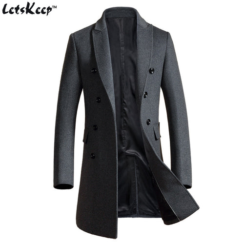 LETSKEEP Double-Breasted Solid Pattern Slim Fit Peacoat