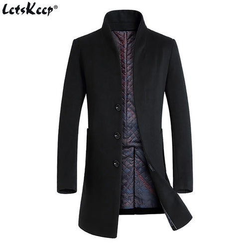 LETSKEEP Long Single-Breasted Slim Fit Wool Peacoat