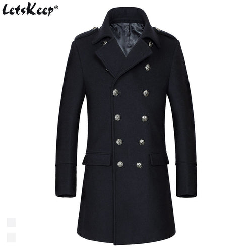 LETSKEEP  Double-Breasted Wool Slim Fit Business Peacoat