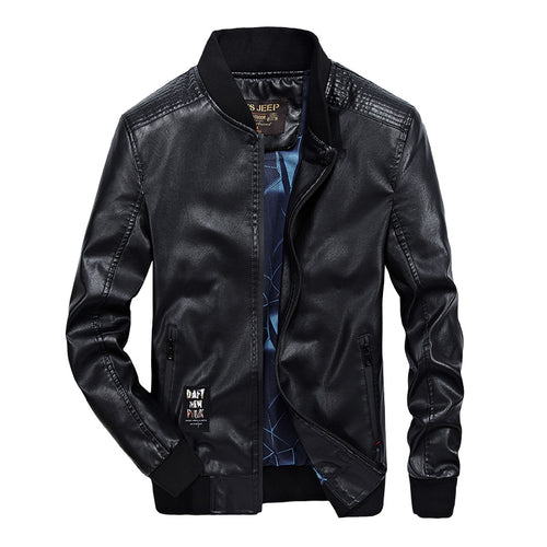 MEN'S STANDARD SOLID PATTERN ZIP UP BOMBER JACKET