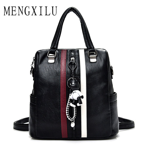 LADIES HIGH QUALITY LEATHER BACKPACK W/CUTE BEAR TASSEL