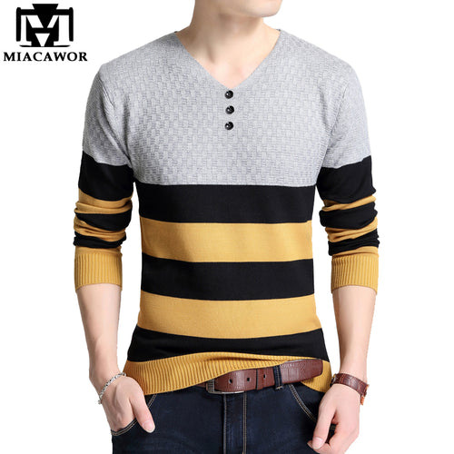 MIACAWOR Striped Pattern V-Neck Winter Pullover Sweater* (M-4XL)