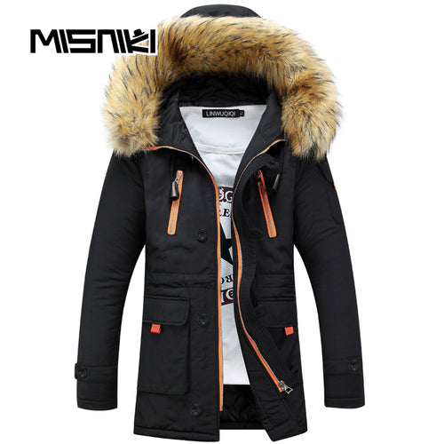 Winter Slim Casual Hooded Parka w/Detachable Fur Hat