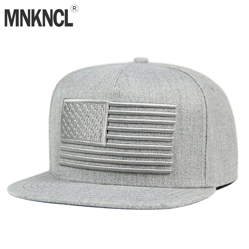 51b1a5a7 ... Load image into Gallery viewer, MNKNCL 3D EMBROIDERED RAISED FLAG FLAT  BILL BASEBALL CAP ...