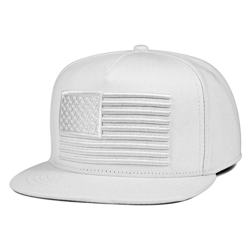 MNKNCL 3D EMBROIDERED RAISED FLAG FLAT BILL BASEBALL CAP