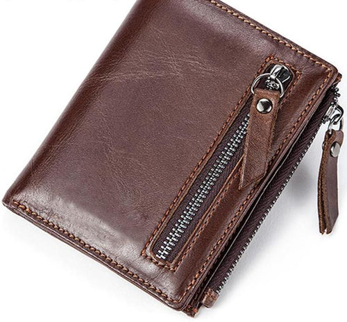 Leather Coin Pocket Zipper Credit Card Holder Wallet