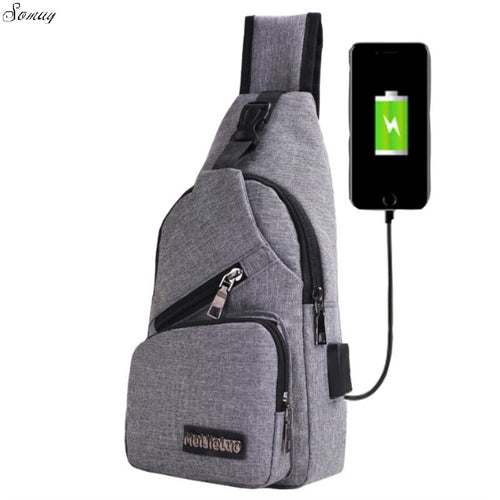 Crossbody External USB Charging Chest Pack