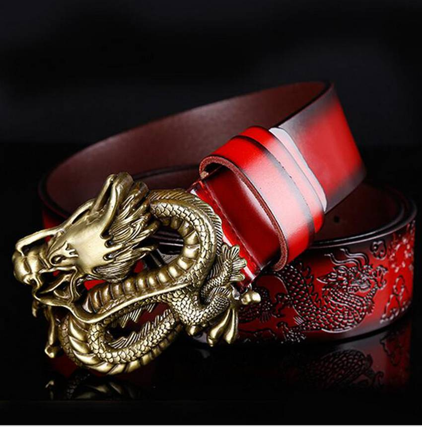 Mens Solid Pattern High Quality Leather Belt w/Metal Dragon Buckle
