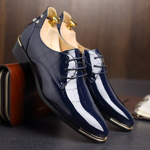 Mens Breathable Solid Pattern Leather Shoes