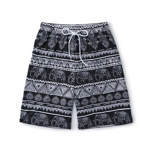 MENS ELEPHANT PRINT DOUBLE POCKET BOARD SHORTS