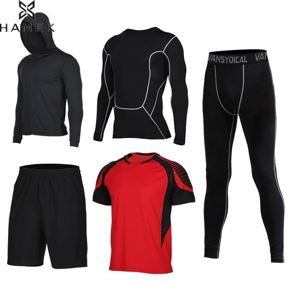MENS 5-PIECE HOODED FITNESS/WORKOUT COMPRESSION SUIT