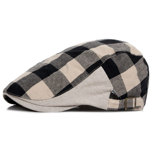 MENS PLAID/STRIPED CASUAL DUCKBILL NEWSBOY CAP*
