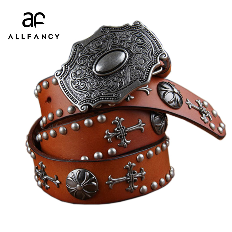 MENS GOTHIC STYLE RIVETED RETRO LEATHER BELT W/ALLOY BUCKLE