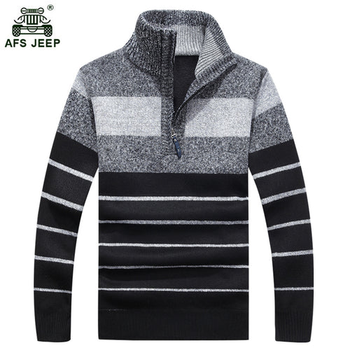 ZHAN DI Striped Slim Fit Stand Collar Pullover Cardigan Sweater* (M-3XL)