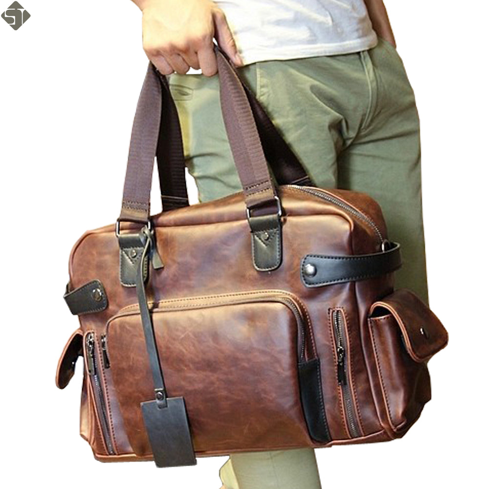 +ST Brand Mens Crazy Horse Leather Luxury Large Capacity Travel Tote Bag*