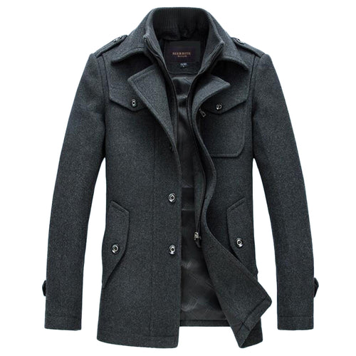 Single-Breasted Thick Wool Winter & Autumn Peacoat