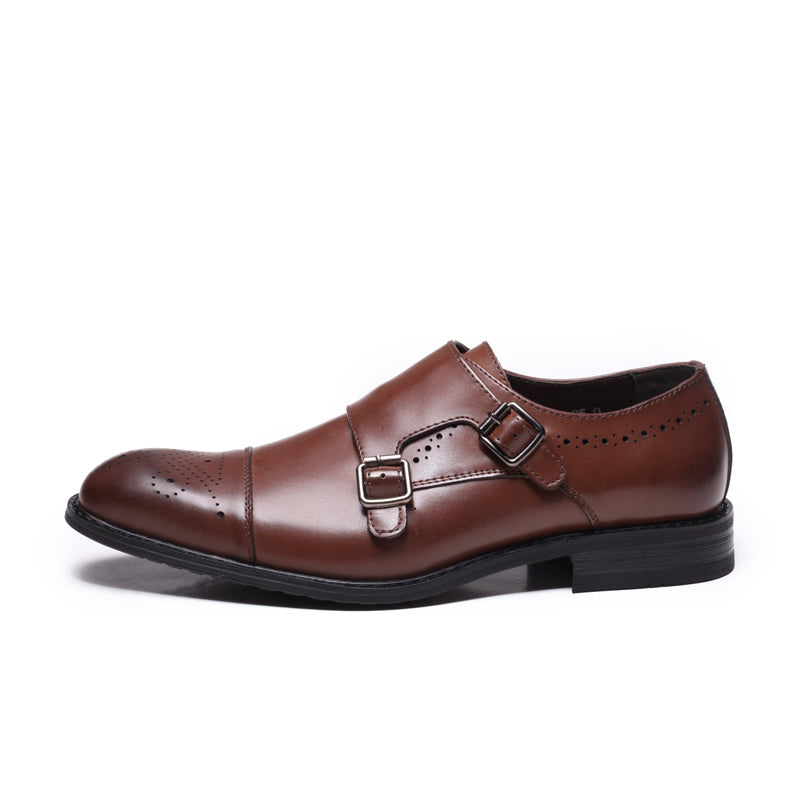 MENS LUXURY GENUINE LEATHER BUCKLE STRAP DRESS SHOES