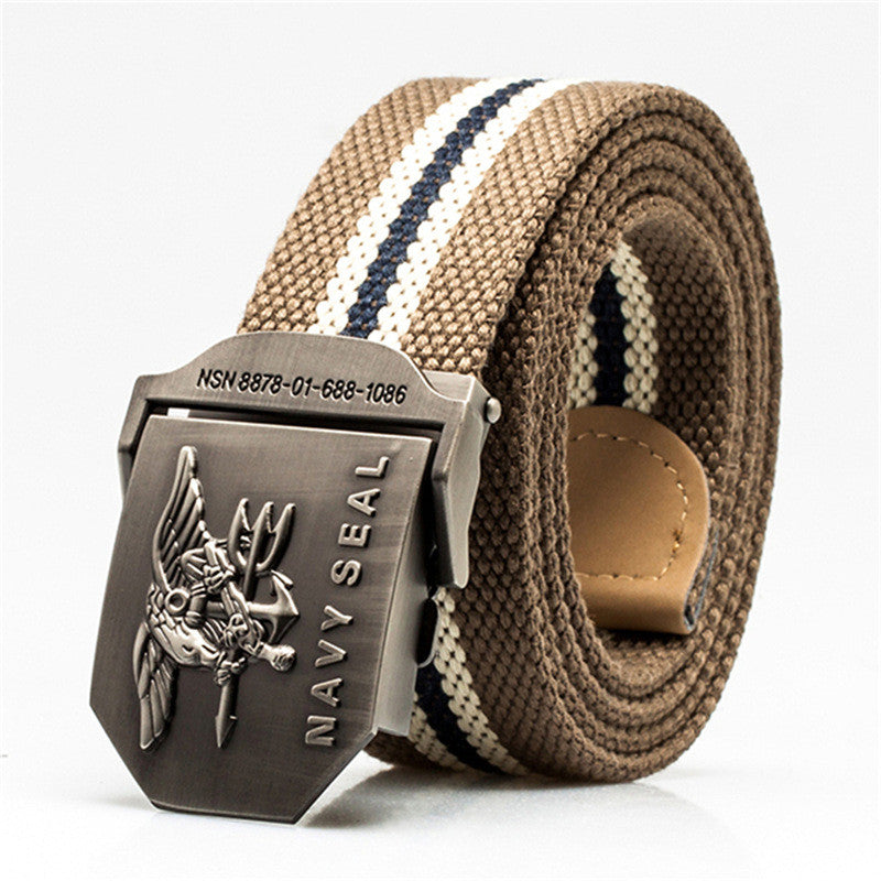 MENS US NAVY SEAL STRIPED CASUAL CANVAS BELT
