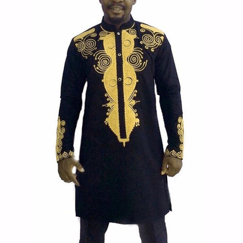 MENS AFRICAN GRAPHIC LONG SLEEVE NATION STYLE SHIRT*