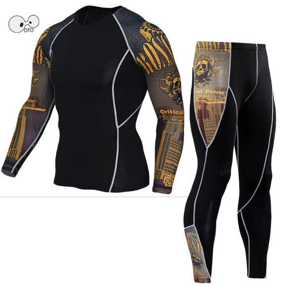 MENS TIGHT LONG SLEEVE FITNESS COMPRESSION SUIT