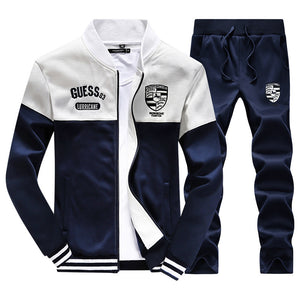 Jogger Jacket & Pants Set-Zipper With Stand-Up Collar