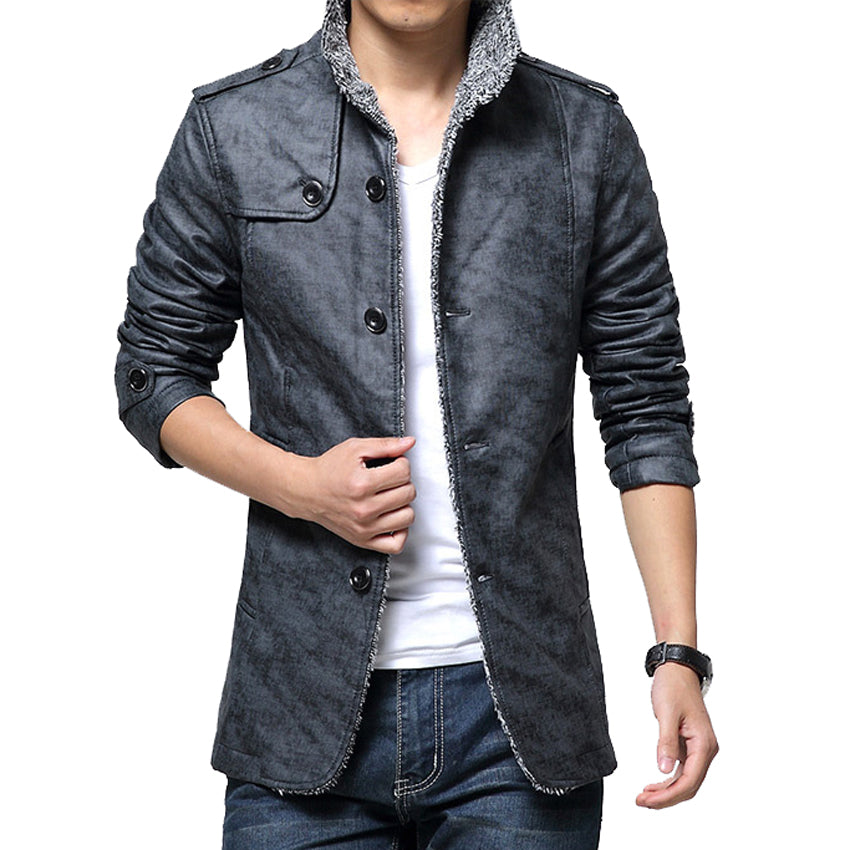 Mountainskin Men S Leather Jacket Stand Up Collar Long Coats