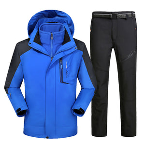 MENS WATERPROOF/WINDPROOF HOODED THERMAL SKI SUIT