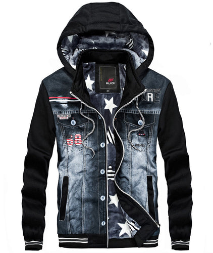 THICK HOODED OUTDOORS PATCHWORK DENIM  JACKET