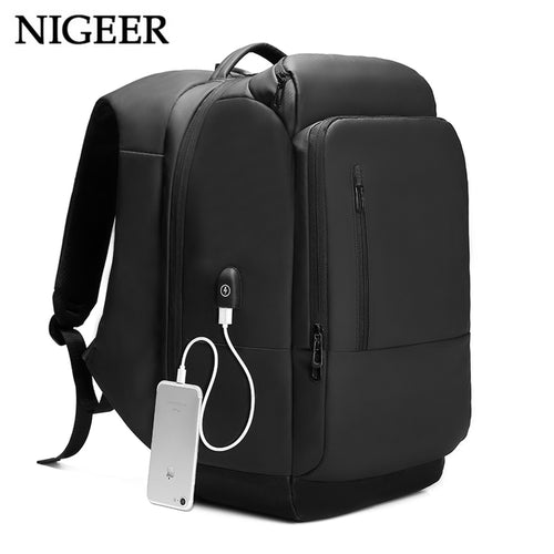 NIGEER 17 Inch Waterproof USB Charging Laptop Backpack