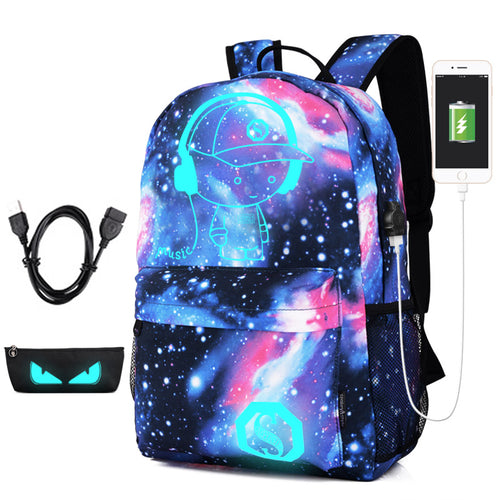 Luminous USB Charging Cartoon Print Backpack*