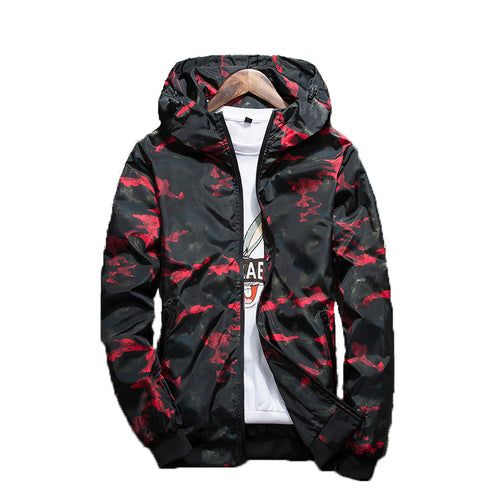 MENS SPRING HOODED CAMOUFLAGE WATERPROOF WINDBREAKER