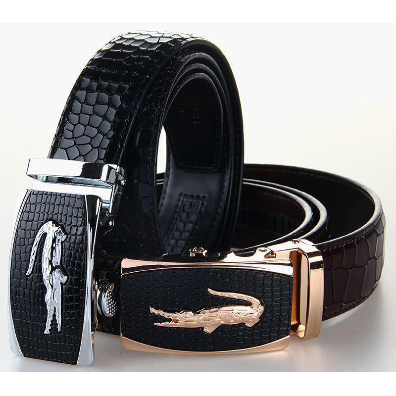 GENUINE LEATHER ALLIGATOR PRINT BELT AND BUCKLE