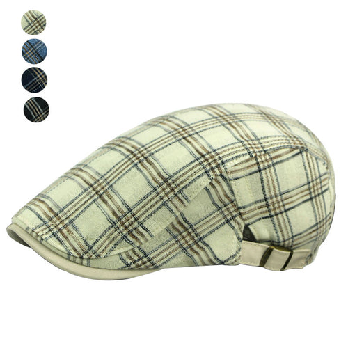 MENS PLAID CLASSIC COTTON SPORTS DUCKBILL HERRINGBONE HAT*