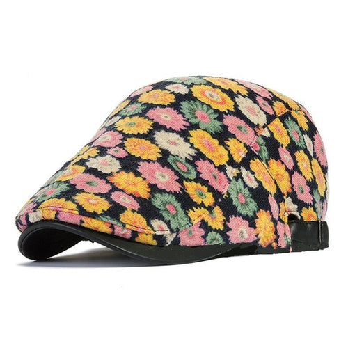 WOMENS FLORAL PRINT SPRING DUCK BILL NEWSBOY CAP*
